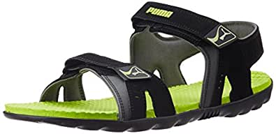 Puma Unisex Silicis Buck DP Black, Lime Punch and Steel Grey Rubber Athletic & Outdoor Sandals - 6 UK