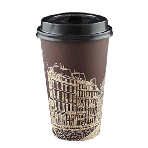 Alien Storehouse 16 Unzen Kreative Einweg-Kaffeepapierschalen mit Deckel 50 Count, No.4 -