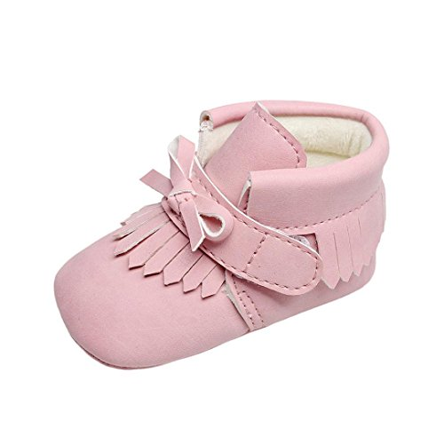Baby Stiefel, FEITONG Baby Krippe Schuhe Winter Stiefel Warme Quaste Schuhe (11, Rosa)