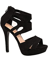 Elara Damen Pumps | Moderne Cut Out Stilettos | Wildlederoptik High Heels | chunkyrayan