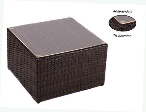 Alu- Beistelltisch inkl. Plexiglasplatte,4 x verstellbare Füße (auch als Hocker nutzbar (90 kg) ohne Plexiglasplatte)zur KombinationRattan Sonnenliege, Liege, Loungeaus hochwertigem Polyrattan, Material: Aluminium mit integrierten Spannbänder für eine weiche Sitzfläche.