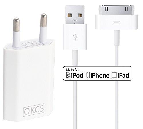OKCS® iPhone 4 / 4s Caricabatteria 1000 mAh Trasformatore + 3m Lightning Cavo 30 pole adatto iPhone 4 / 4s, iPad 2 / 3, iPod en Bianco