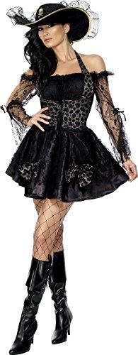Smiffys, Fever Damen Piratin Kostüm, Kleid und Hut, Größe: S, (Halloween Pirat Kostüme Womens)