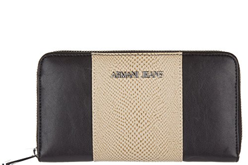 Armani Jeans portafoglio portamonete donna bifold originale nero