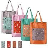 STRIPES Rabbit Print Waterproof Laundry Storage Medium Travel Grocery Shopping Bag Fold-able Bags (Random Color)