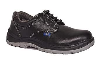 Allen Cooper AC 1102 Men's Safety Shoe, ISI Marked for IS:15298, 200J Steel Toe Cap, Size - 8 UK, Black