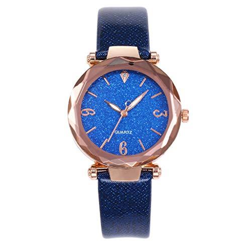 Paticess Damen Quarz Armbanduhr Blinkt Sternenhimmel Zifferblatt Lederband Uhr Beiläufig Luxus Mode Analoge Uhren für Frauen