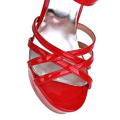 LvYuan Sandalen-Party & Festivität Kleid-Lackleder-Stöckelabsatz-Club-Schuhe-Schwarz Rot Weiß White
