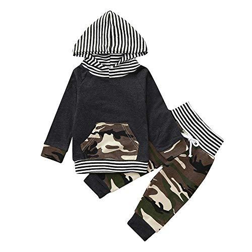 XXYsm Neugeborene Baby Jungen Camo Hoodie T-Shirt Camouflage Streifen Tops Mit Kapuze + Hosen Outfits Set Grau ❤80/6-12 Monate -
