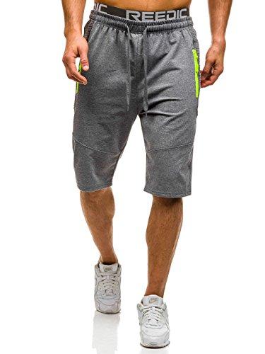 BOLF Herren Shorts Bermudas Kurzhose Fitness Sporthose Jogging Zip 7G7 Motiv