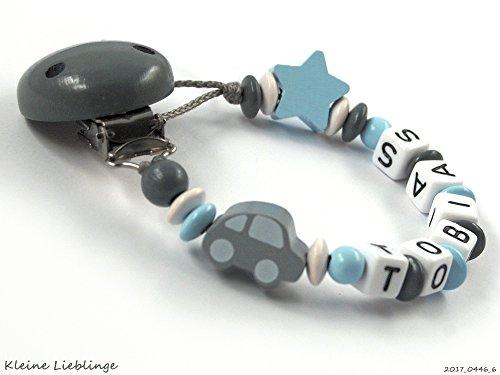 Schnullerkette mit Namen mit 3-8 Buchstaben Auto Stern - dunkelgrau, grau, hellblau, weiß (6 Buchstaben)