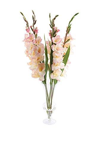 PEONY 7326 künstliche Blassrosa Gladiolus EIN Kelch in Vase, hoch -