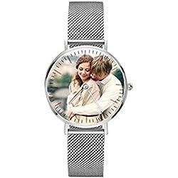 Reloj personalizado de acero inoxidable con foto para amantes Regalo personalizado personalizado para hombres Reloj de pulsera de mujer