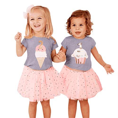 Mitlfuny Kleidung Set Kleid Damen Sommer Elegant Baby Mädchen Outfits & Set,Kleinkind Baby Mädchen Ice Cream Cake Print Tops T-Shirt + Dot Tutu Röcke Outfits Set -