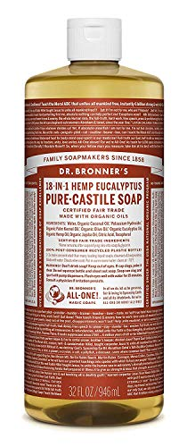 Dr. Bronner's Magic Soaps, Savon pur de Castille-, 18-in-1 chanvre d'Eucalyptus, 32 fl oz (944 ml)