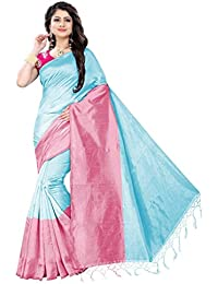 Florence Pink & Sky Blue Cotton Silk Plain Saree With Blouse (FL-PT-Assam01-1)