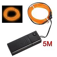Gaoominy Orange Flexible EL Wire Neon Light 5M Dance Party Decor+Controller