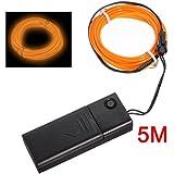 SODIAL(R) Naranja EL cable flexible de neon de la danza partido decoracion 5M + Controlador