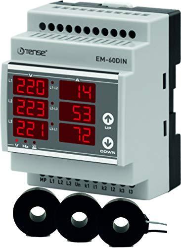 Tense EM-60DIN Einbaumessgerät Multimeter zur Messung von Strom (1A-100A), Spannung und Frequenz in 3-Phasigen Netzwerken - DIN-Schiene Hutschiene digital