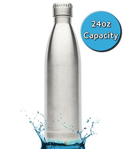 Inspiriert Home Living Kuel Edelstahl Wasser Flasche (Maurerhammer/750ml)–doppelwandig und Vakuum Isoliert–Sterling Silber–Umweltfreundlich Wasser Kantine kein BPA oder toxins (Cap Running Leder)