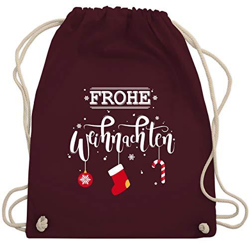 Weihnachten & Silvester - Frohe Weihnachten Lettering - Unisize - Bordeauxrot - WM110 - Turnbeutel & Gym Bag -