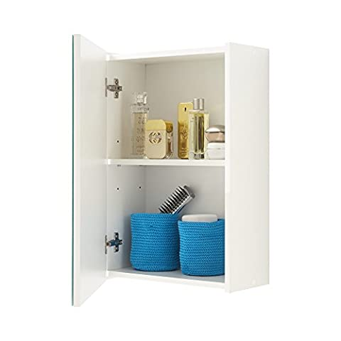 FMD 932-001_we Elda Meuble Haut de Salle de Bain avec Porte + Compartiment + Clapet avec Miroir Bois Blanc 40 x 20,5 x 61,5 cm