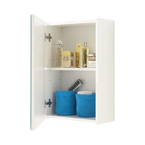 13casa - nora a6 - specchio contenitore. dim: 40x20,5x61,5 h cm. col: bianco. mat: truciolare, melamina, spec