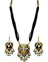 DollsofIndia Adjustable Bead Necklace With Black Lac Meenakari Pendant & Earrings - Pendant - 1.75 Inches Earrings...