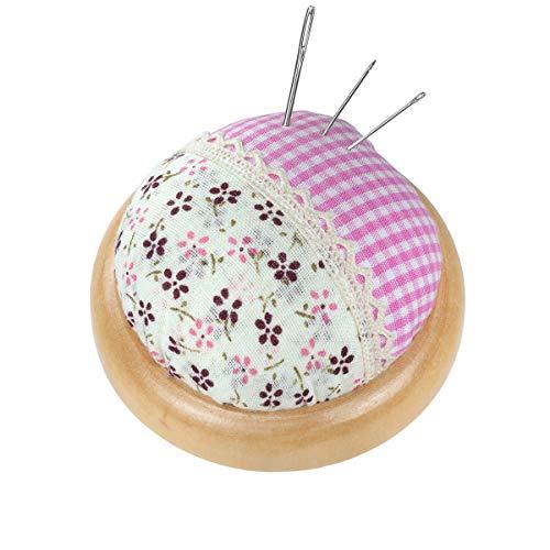 florales Vintage - Nadelkissen in rosa mit hellem Holzteller (Ø 7 cm)