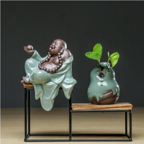 Hagyh nuovi vasi cinesi, ornamenti, ceramiche, zen, complementi d'arredo, piccoli monaci, sale studio, tavolini da tè e tavoli di sabbia, vaso con cornice in legno maitreya