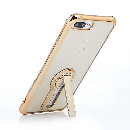 MAXFE.CO TPU Silikon Hülle für iPhone 7 Plus Handyhülle Schale Etui Protective Case Cover Rück mit Ultra slim Skin TPU bruchsicher Kissen 360 Grad drehbaren Ständer Design Skin Farbe Rosé-gold Richie gold