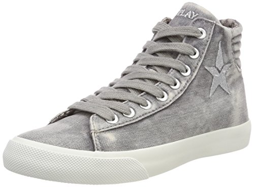 Replay Damen Edna Hohe Sneaker, Grau (Grey), 37 EU (High-top Glitzer Sneaker)