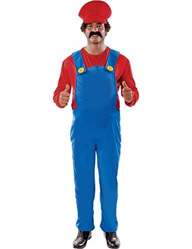 Erwachsene Plus Size Herren Super Mario Klempner Verkleidung Kostüm 2XL