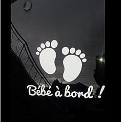 """Sticker blanc autocollant vinyle""""bébé à bord"""" petits pieds de bébé 20cmx15cm collage extérieur"""