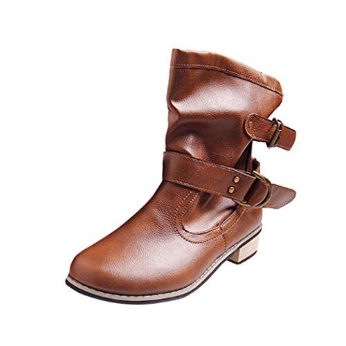 Koly Mujer Invierno Botines Botas Nieve Botas Calentar Casual Plano Zapatos invierno caliente Plano Botines Hebilla Calentar Botas De Nieve Zapatos Deportes al aire libre Boots (40, Marrón)