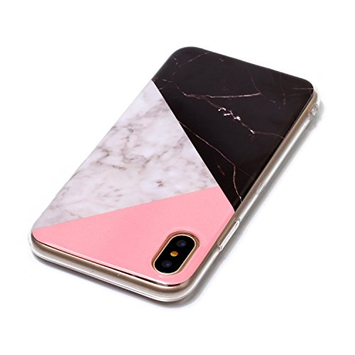 inShang iPhone X 5.8inch custodia cover del cellulare, Anti Slip, ultra sottile e leggero, custodia morbido realizzata in materiale del TPU, frosted shell , conveniente cell phone case per iPhone X 5. Black and white marble