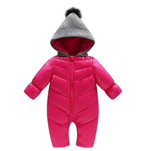 GWELL Baby Overall Strampler Einteiler Schneeanzug mit Kapuze für Winter & Herbst Jungen Mädchen aus Baumwolle Rot XL/110 (Mädchen Schneeanzug Größe Xl)