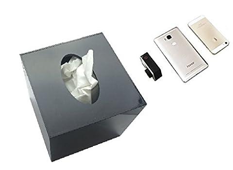 Online-Enteprises Téléphone cellulaire caméra cachée boîte de tissu. Transforme tout téléphone cellulaire en caméra espion cachée. Nouvelle conception w / 90 pour cent plus lumineux vue! (Noir)