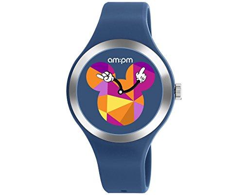 Disney Unisex-Armbanduhr Blau von am: PM Multicolor Mickey Mouse Logo Silikon Gurt dp155-u536 (Mickey-maus-uhr Blau)
