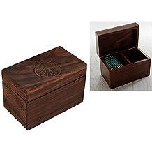 Store Indya, Legno Tea Storage Box Compact Organizzatore artigianale con in rilievo Tree Of Life Design