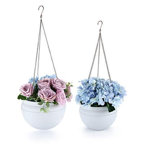ComSaf Hängepflanztopf Kunststoff Packung mit 2, Hängeschale für Balkon Hanging Hängeampel Pflanzkorb Sphere Blumenampel Moderner Dekorativer Aufhänger-Topf