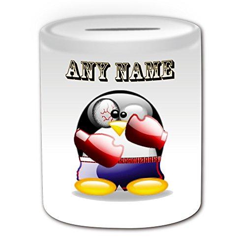 Boxer Kid Kostüm (Personalisiertes Geschenk–Boxen Spardose (Design Pinguin in Kostüm Thema, weiß)–alle Nachricht/Name auf Ihre einzigartige–Boxer MMA)