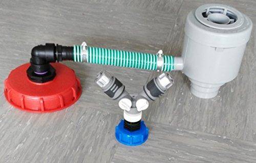 'cmgg21dk150r13599y2146s de Graf Garantia Filtre Tube de cas avec, colliers, Tuyau, angle, Tuyau réduction + capuchon à vis 150 mm Répartiteur en Y + 1/2 raccord de tuyaux raccord rapide avec stop eau Compatible avec Gardena Adaptateur avec capuchon à vis S60 x 6 IBC Réservoir Eau de Pluie de Accessoires de conteneurs Mamelon de Bidon de tonneau à eau