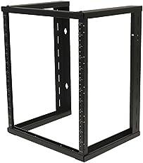 NavePoint 12U Wall Mount Open Frame 19 Server Equipment Rack Threaded 15 inch depth Black