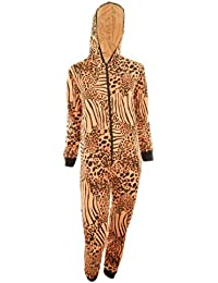 Fran Kinder Unisex Tierdruck Reißverschluss Hooded Kids Overall Onesie Jumpsuit