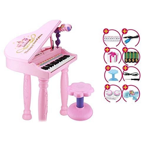Elektronisches Klavierspielzeug, 37-Tasten-Tastatur mit Mikrofon-Headset-Hocker, for Kinder ( Color : Pink ) -