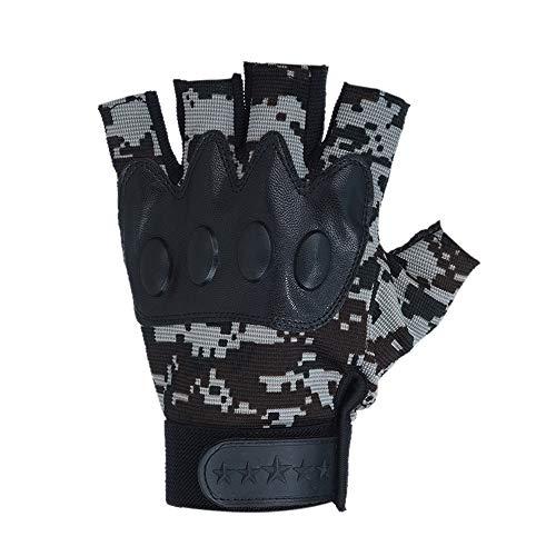 FeiBeauty Outdoor-Sport Anti-Rutsch-Reiten Anti-Blockier-Tarnung taktische Halbfinger-Handschuhe