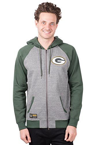 ICER Brands NFL Herren Kapuzenpullover mit Reißverschluss Raglanjacke, Teamfarbe, Herren, Full Zip Hoodie Sweatshirt Raglan Jacket, Team Color, grau, Large