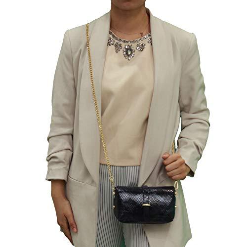 A to Z Leather Echtes weiches Damen Leder kleine Umhängetasche/Clutch mit abnehmbarer Goldkette. Taschen können mit Initialen personalisiert werden.