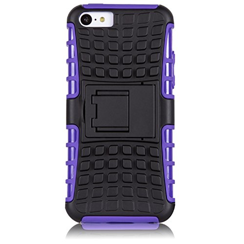 iPhone 5C Hülle, JAMMYLIZARD [ ALLIGATOR ] Doppelschutz Outdoor-Hülle für iPhone 5C, BLAU LILA